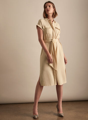 Vince Camuto - Belted Shirt Collar Dress, Brown,  dress, day, shirt collar, cap sleeves, belt, patch pockets, spring summer 2020