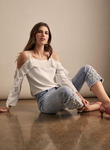 Joseph Ribkoff - Haut à détails plissés, Blanc cassé,  haut, manches longues, épaules dénudées, plis, ajours, crêpe, printemps été 2020