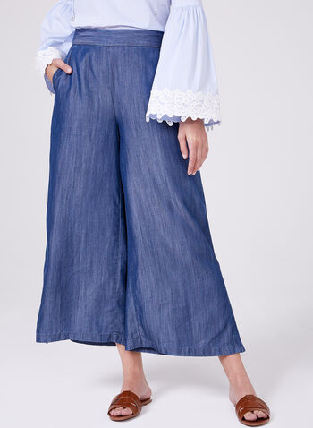 Jupe-culotte aspect denim en tencel, Bleu, hi-res