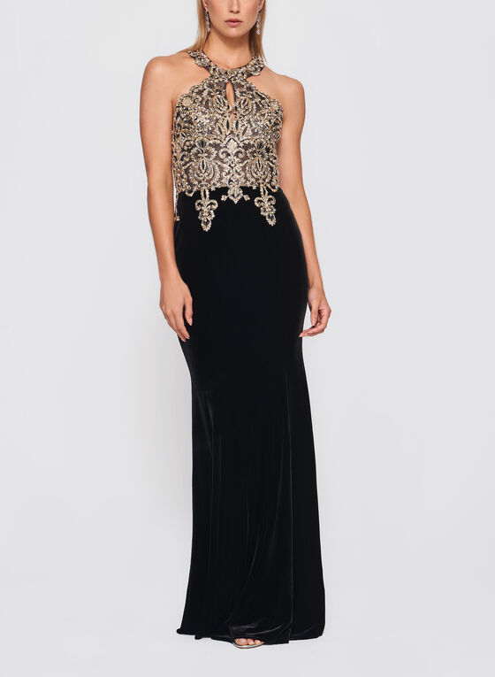 BA Nites - Crystal Embellished Velvet Gown, Black, hi-res