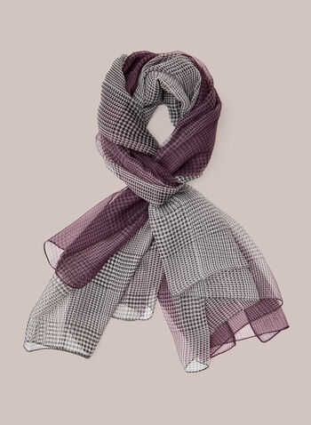 Tartan Print Lightweight Scarf, Purple,  scarf, lightweight, tartan, fall winter 2020