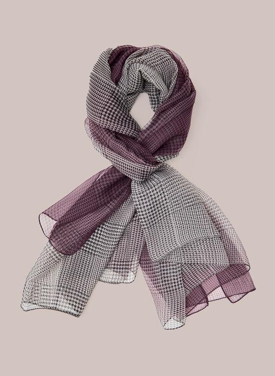 Foulard léger motif tartan, Violet