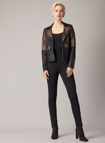 Joseph Ribkoff - Faux Leather Jacket, Black,  fall winter 2020, jacket, faux leather, zipper,