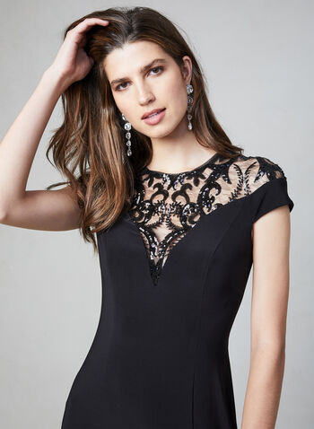 Adrianna Papell - Sequin Jersey Dress, Black, hi-res,  fall winter 2019, jersey, evening dress, gown, sequin