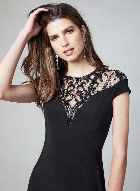 Adrianna Papell - Sequin Jersey Dress, Black, hi-res