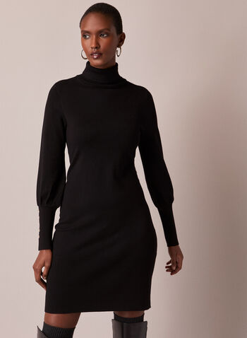 Turtleneck Sweater Dress, Black,  sweater, dress, turtleneck, long sleeves, cuffs, buttons, knit, fall winter 2020