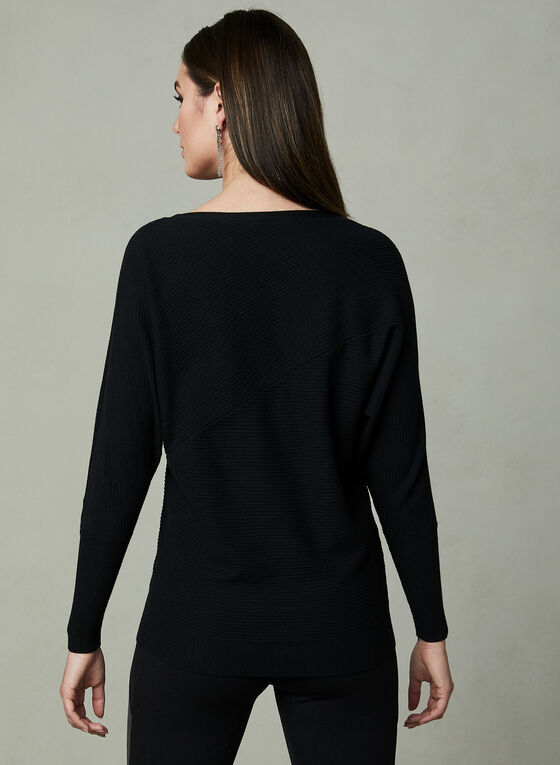 Dolman Sleeve Knit Sweater, Black, hi-res