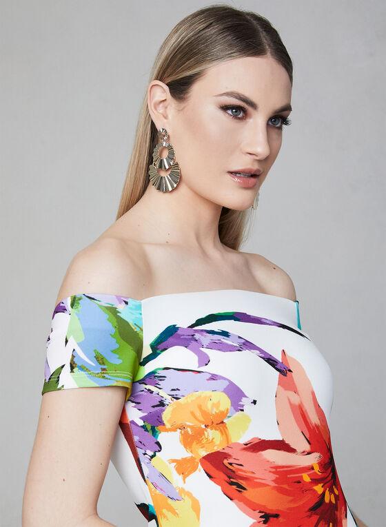 Frank Lyman - Floral Print Off-the-Shoulder Dress, Off White