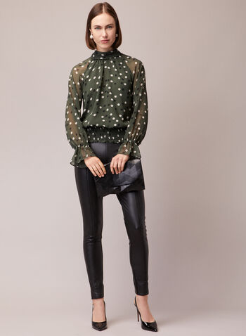 Dotted Print Ruffled Sleeve Blouse, Green,  blouse, dotted, ruffled sleeve, chiffon, keyhole, fall winter 2020
