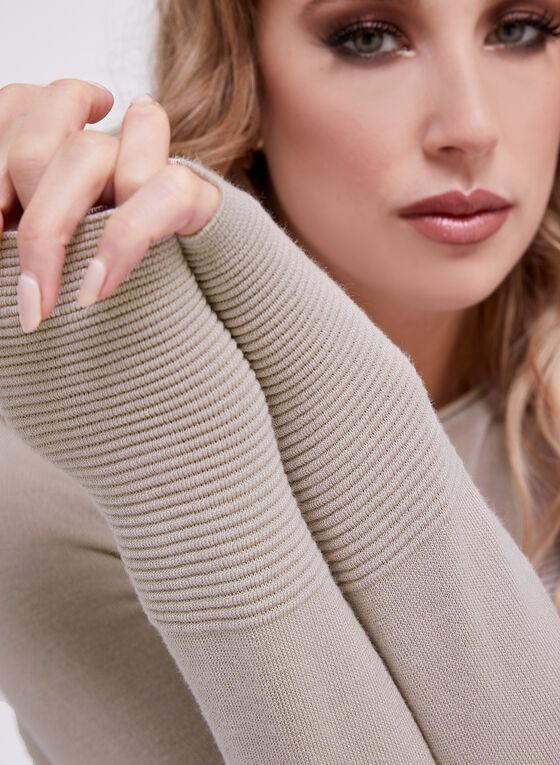 Stripe Ottoman Knit Sweater, Brown, hi-res