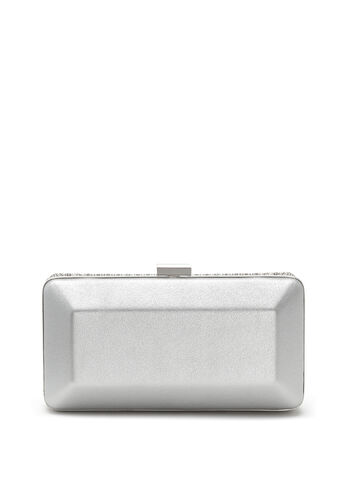 Crystal Mesh Box Clutch, Silver, hi-res