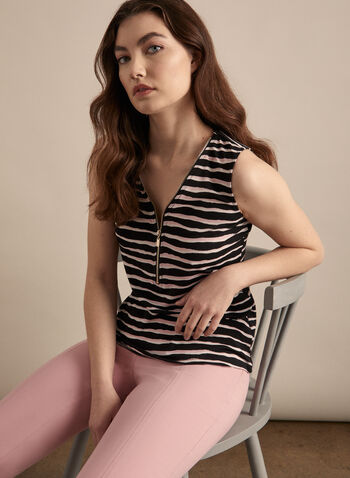 Sleeveless Stripe Print Top, Black,  sleeveless, top, stripe print, striped top, zipper, spring top, summer 2020, spring 2020