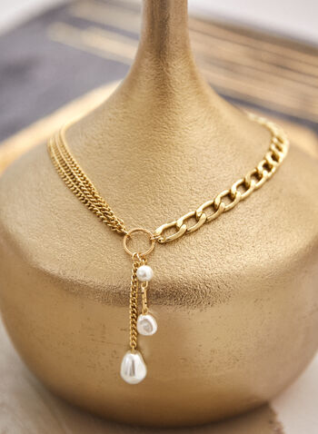 Pearl Pendant Multi Chain Necklace, Off White,  fall winter 2021, accessories, jewellery, jewelry, necklace, multi chain, chain, ring, pearl, pendant, gold