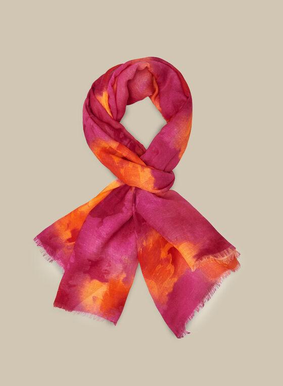 Foulard carré fleuri en modal et lin, Rose
