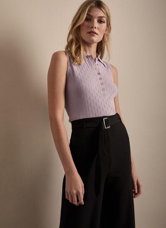 Sleeveless Polo Sweater, Purple