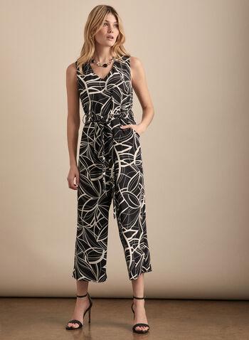 Linea Domani - Combinaison motif abstrait, Noir,  combinaison, sans manches, col v, jambe large, abstrait, printemps été 2020