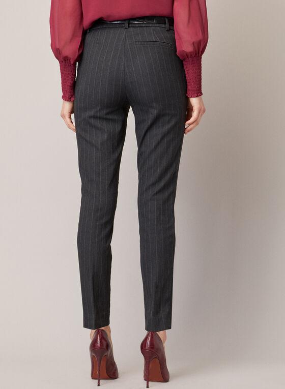 Stripe Print Belted Pants, Black
