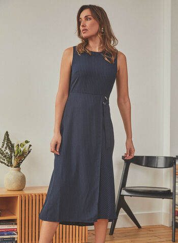 Vince Camuto - Pinstripe Print Sleeveless Dress, Blue,  dress, day, pinstripe, sleeveless, round neck, d-ring, fit flare, midi, spring summer 2021