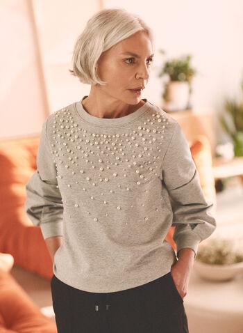 Pearl Embellished Knit Top, Grey,  top, sweater, weekend, knit, pearl, long sleeves, bishop sleeves, round neck, spring summer 2021