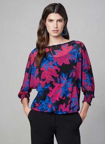 Floral Print Shirred Wrists Blouse, Multi, hi-res,  Mesh top