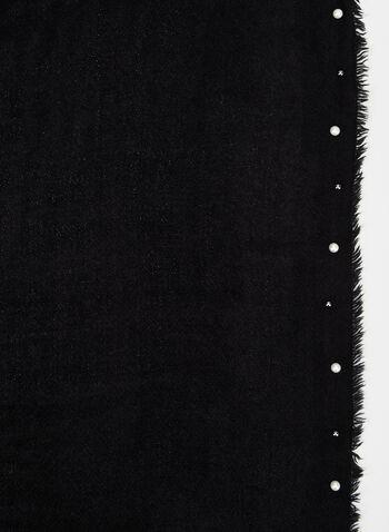 Foulard pashmina à perles et franges, Noir, hi-res