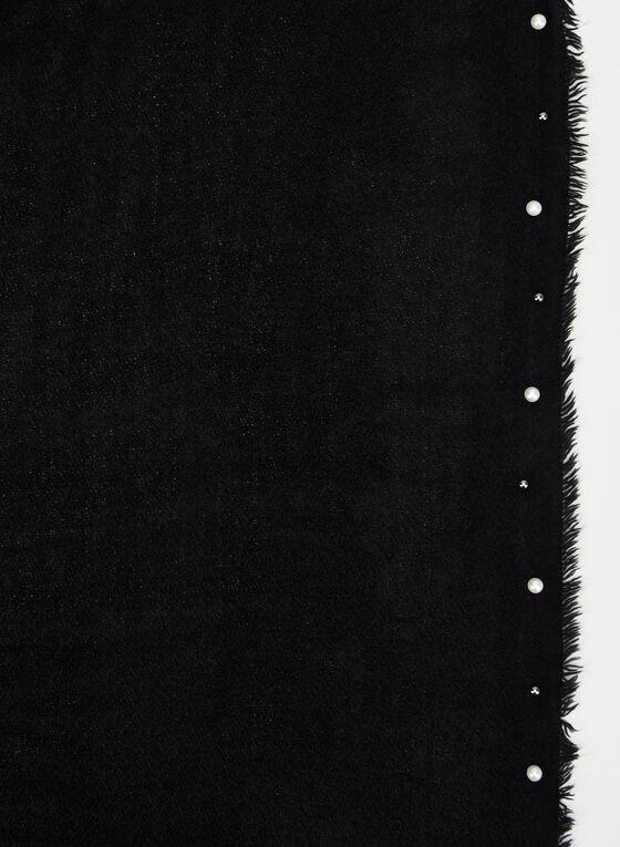 Pearl Embellished Scarf, Black, hi-res