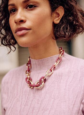 Collier court à maillons larges, Violet,  collier, accessoires, chaîne, maillons rectangulaires, résine, métal doré, automne 2021