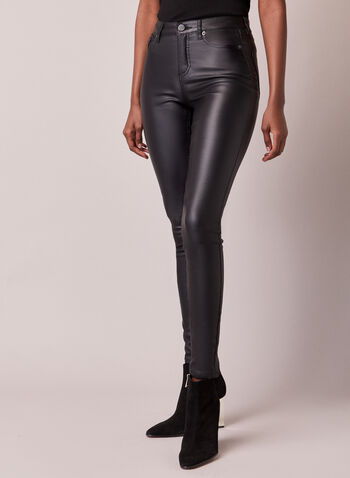Leather Like Slim Leg Jeans, Black,  fall winter 2020, leather like, coated, shine, shiny, coating, slim leg, skinny jean, jeans, denim, matte, pocket, zip, button, mid rise