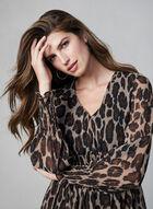 Robe léopard à détails ruchés, Noir, hi-res