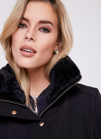 Novelti - Faux Fur Collar Softshell Coat , Black, hi-res