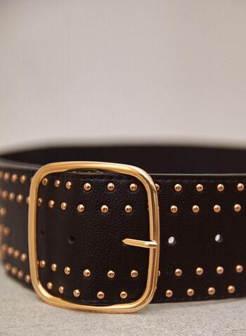 Stud Detail Belt, Black,