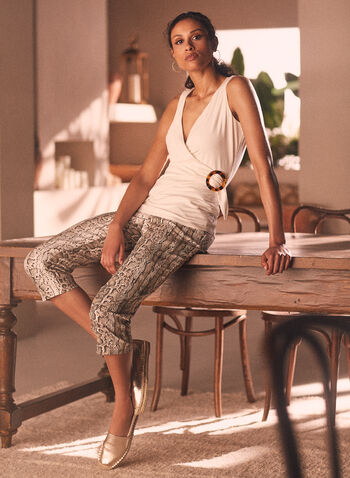Chapter One - Snake Print Pull-On Capris, Brown,  capris, snake print, bengaline, pull-on, spring summer 2021