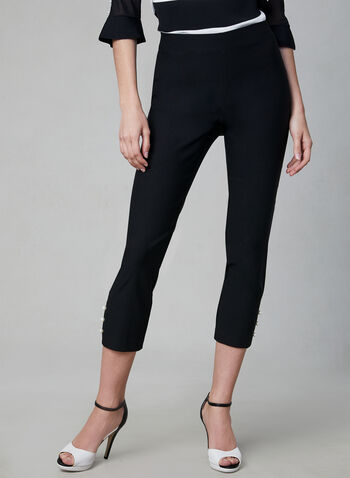 Pearl Detail Capris, Black, hi-res