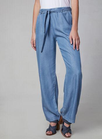 Carré Noir - Pantalon à jambe large aspect denim, Bleu, hi-res,  pantalon, pull-on, jambe large, tencel, ceinture, denim, printemps été 2019