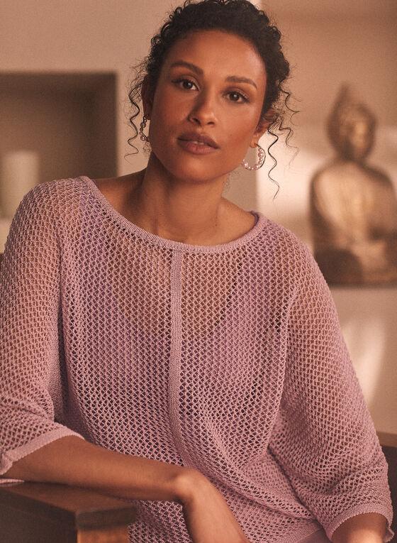 Pull en tricot à encolure bateau , Violet