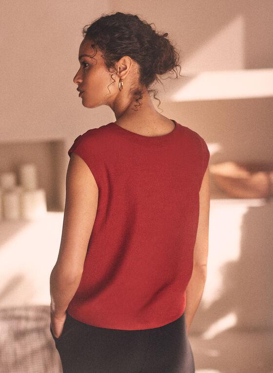 Linen Blend Knot Detail Blouse, Red