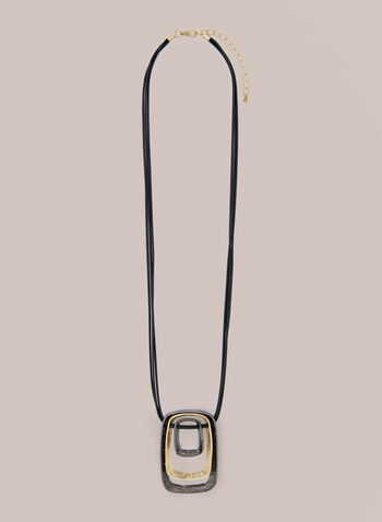 Triple Ring Cord Necklace , Yellow,  Fall winter 2020, jewellery, necklace, cord, accessories, rectangular, rings