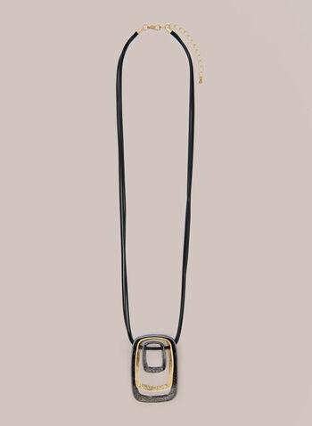 Collier à pendentif anneau triple, Jaune,  automne hiver 2020, collier, anneau, pendentif, bijou, accessoire, corde