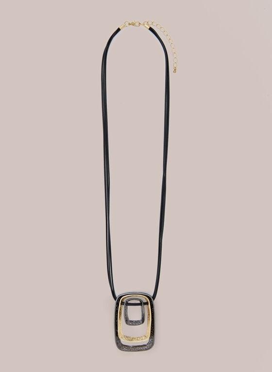 Collier à pendentif anneau triple, Jaune
