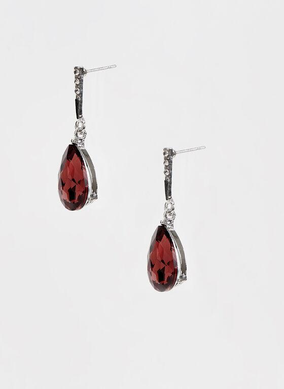 Crystal Teardrop Earrings, Purple, hi-res