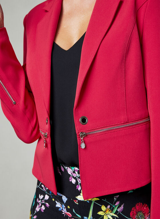 Vex - Blazer ouvert à faux zips et œillets, Rouge