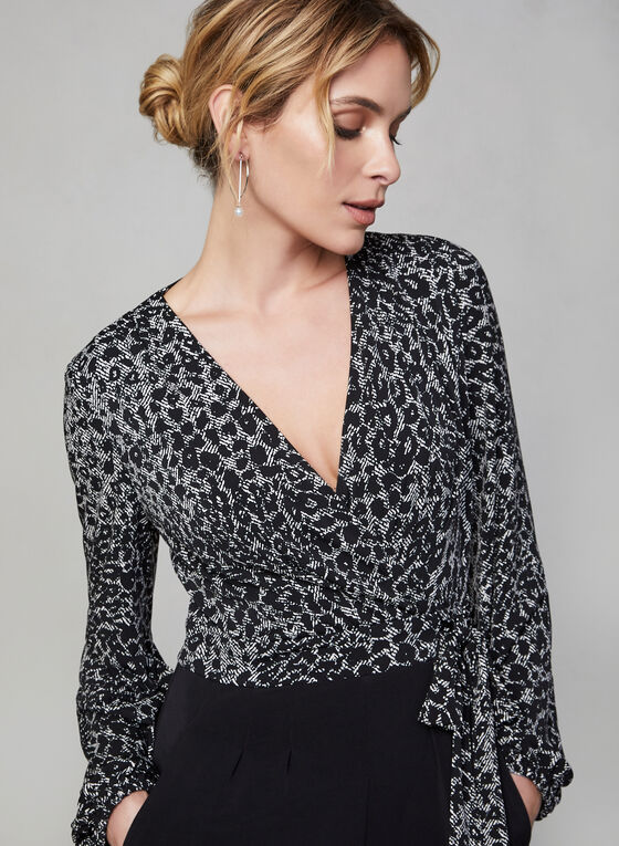 Maggy London - Animal Print Jumpsuit, White, hi-res