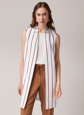 Open Front Sleeveless Jacket, White,  jacket, vest, open front, sleeveless, striped, pockets, spring summer 2020