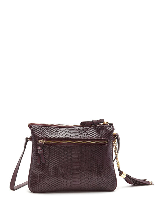 Faux Crocodile Crossbody Bag, Red, hi-res