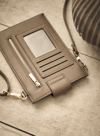 Tab Closure Cellphone Bag, Beige,  Fall winter 2021, accessory, accessories, bag, mobile, small, portable,