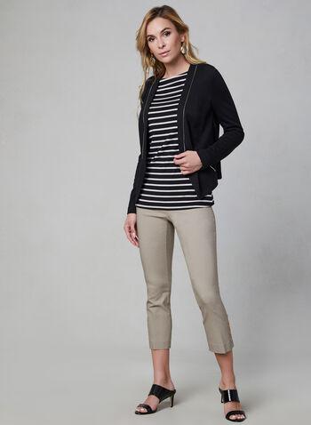 Haut rayé à manches longues, Noir,  haut, rayures, manches longues, col bateau, jersey, automne hiver 2019