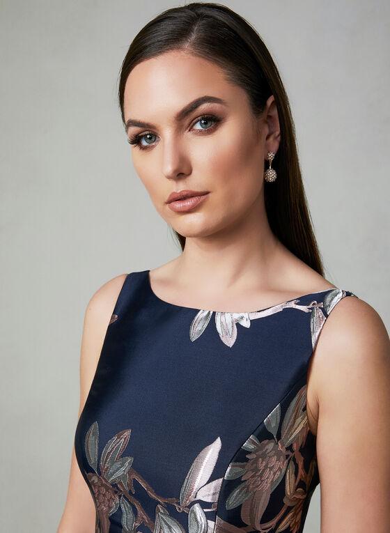 Adrianna Papell - Robe fleurie ajustée et évasée , Bleu
