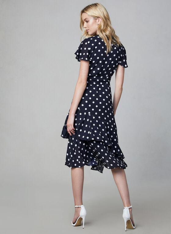 Joseph Ribkoff - Polka Dot Print Dress, Blue, hi-res