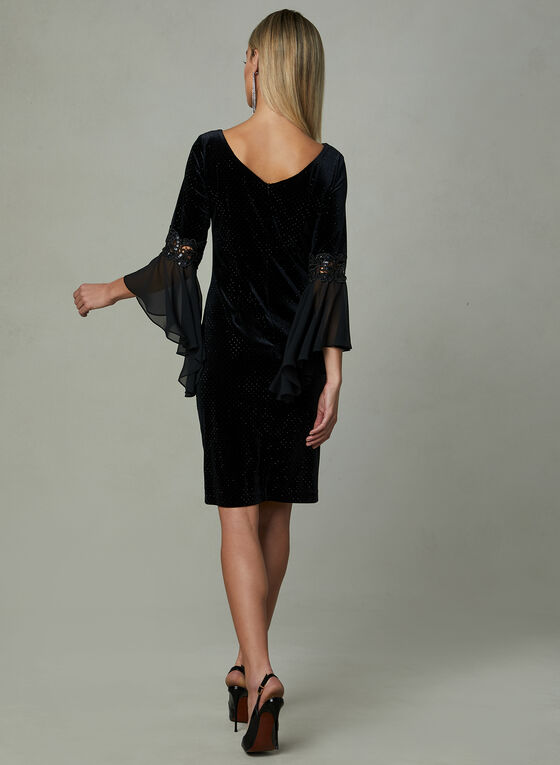 Frank Lyman - Velour Angel Sleeve Dress, Black, hi-res