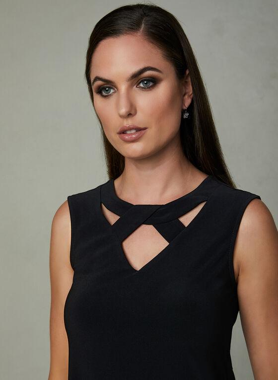 Sleeveless Asymmetric Blouse, Black, hi-res